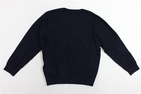 maglione girocollo tinta unita con logo scollo a punta EMPORIO ARMANI | Maglie | 6Z4MA21MPQZBLU