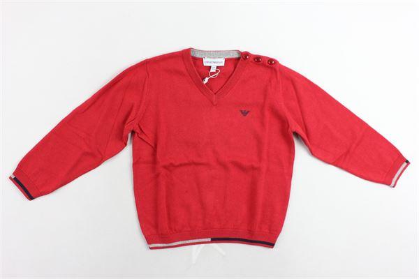 maglione girocollo tinta unita con logo EMPORIO ARMANI | Maglie | 6ZHM51AM00ZROSSO