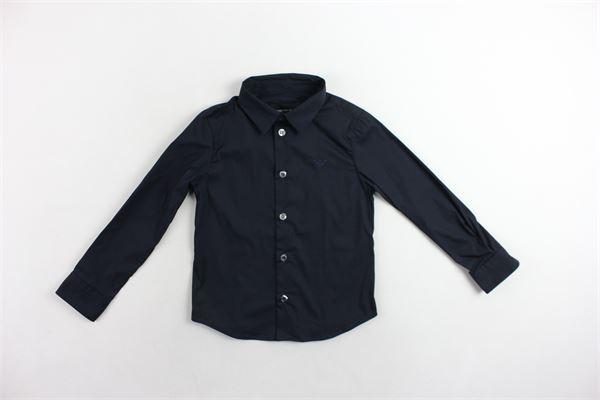 camicia manica lunga tinta unita con logo EMPORIO ARMANI | Camicie | 8N4C09BLU