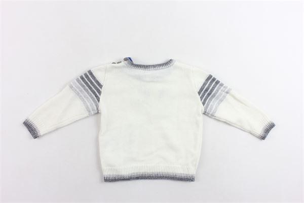 maglione in lana tinta unita con profili rigati e logo con bottoni alla spalla EMPORIO ARMANI | Maglie | SGHM504M0TZBIANCO