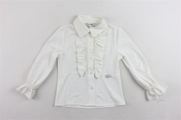 camicia manica lunga tinta unita con rouches ENYLO' | Camicie | 180247BIANCO