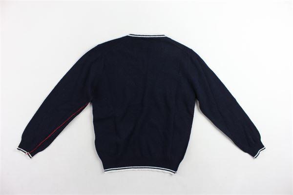maglione in lana scollo a punta tinta unita profili in contrasto FAY | Maglie | NNIC1357460BLU