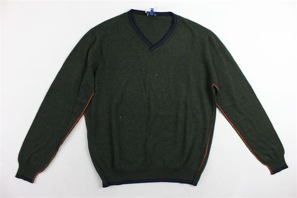 maglione in lana scollo a punta tinta unita profili in contrasto FAY | Maglie | NNIC1357460VERDE