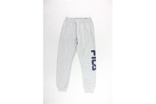 pantalone tuta felpato tinta unita con stampa FILA | Pantaloni | 687197MGRIGIO