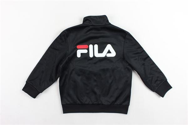 felpa con zip triacetata con profili loggati FILA | Felpe | 687267NERO