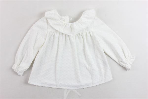 camicia manica lunga microfantasia collo in rouches FINA EJERIQUE | Camicie | O18A6148BIANCO