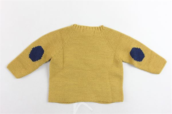 maglione tinta unita in lana con bottoni alla spalla e toppe iin contrasto FINA EJERIQUE | Maglie | O18B13H04SENAPE