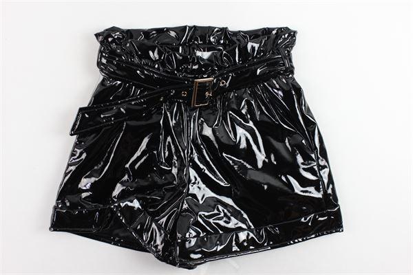 short lucido vita alta con cintura tinta unita FUN & FUN | Shorts | FNJS02764NERO