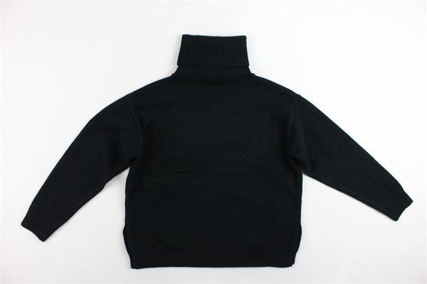 maglione collo alto tinta unita con stampa oversize FUN & FUN | Maglie | FNJSW2283NERO