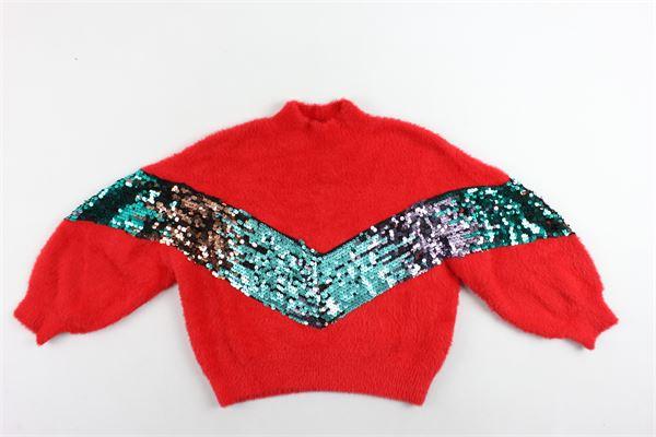 maglione mezzo collo tinta unita con paillettes FUN & FUN | Maglie | FNJSW2743ROSSO