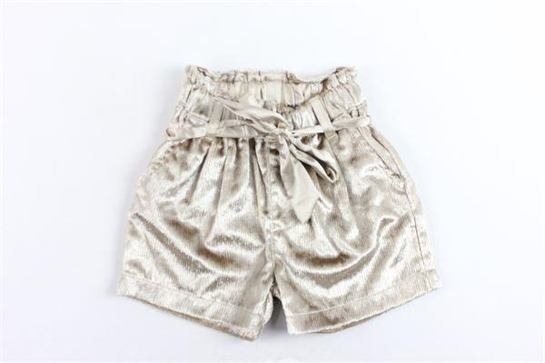 shorts vita alta con cintura tinta unita in ciniglia FUN & FUN | Shorts | FNNSO2235ORO