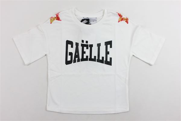 t-shirt mezza manica in cotone modello oversize tinta unita con stampa in paillettes GAELLE | T-shirts | 2741M0098BIANCO