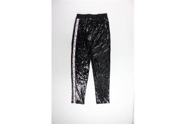 pantalone tinta unita con paillettes e profili loggati GAELLE | Pantaloni | GBD2827NERO