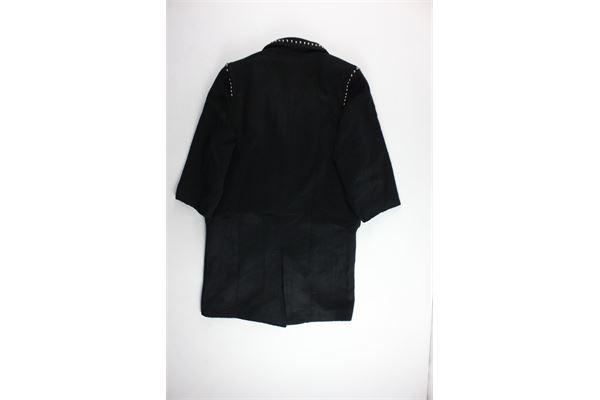 cappotto lungo tinta unita con borchie GAELLE | Giubbini | GBD3088NERO