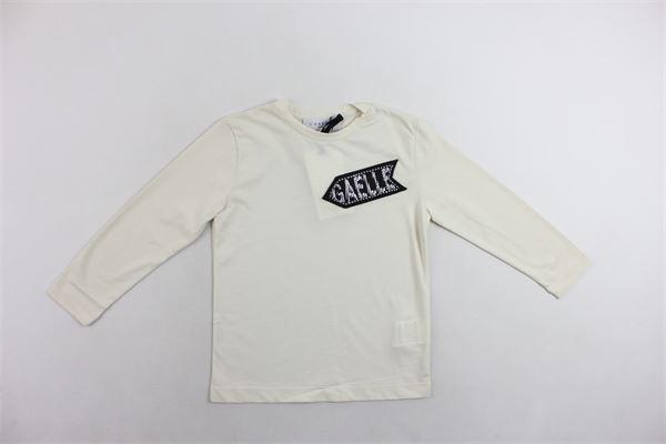 shirt manica lunga tinta unita con stampa e brilantini GAELLE | Shirts | GGTS74PANNA