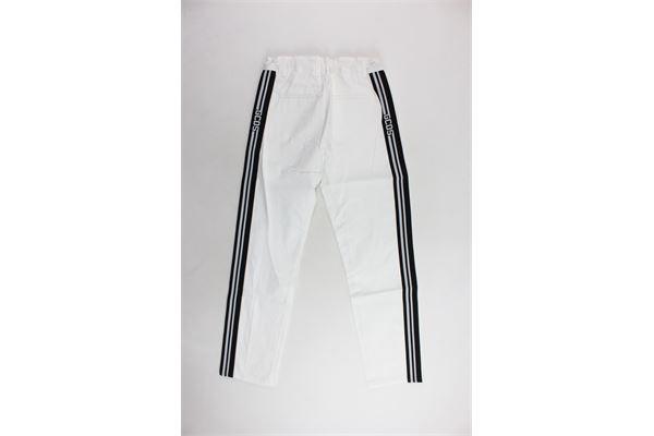 pantalone tasca america tinta unita con profili in contrasto loggati GCDS | Pantaloni | 019520BIANCO