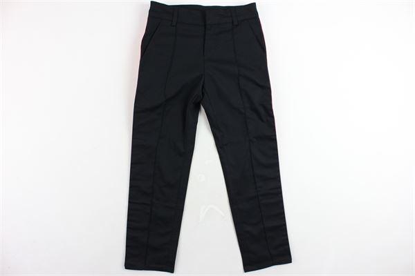 pantalone tasca america tinta unita con profili in contrasto loggati GCDS | Pantaloni | 019520NERO