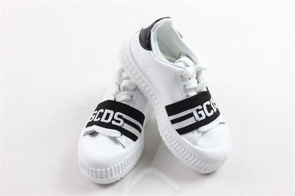 sneakers bassa allacciata tinta unita con banda gcds in contrasto GCDS | Scarpe | 020408BBIANCO