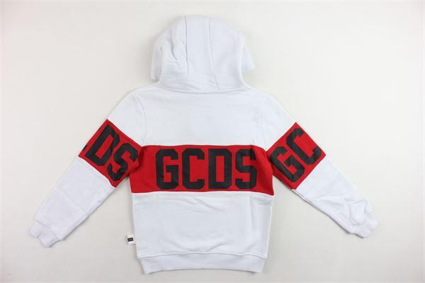 felpa con cappuccio manica lunga stampa gcds, felpata GCDS | Felpe | 0204188BIANCO