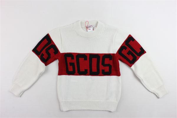 maglione in lana girocollo tinta unita stampa gcds GCDS | Maglie | 020422BIANCO
