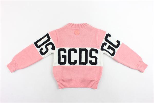 maglione in lana girocollo tinta unita stampa gcds GCDS | Maglie | 020422ROSA