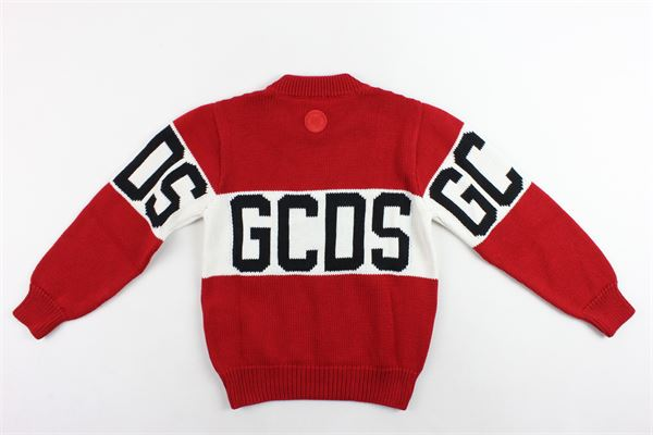 maglione in lana girocollo tinta unita stampa gcds GCDS | Maglie | 020422ROSSO