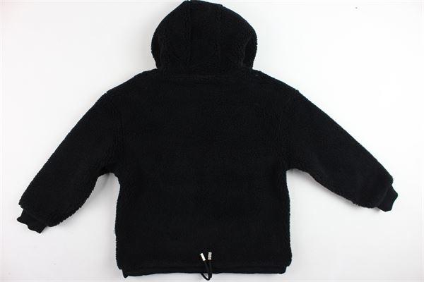 felpa con cappuccio tinta unita in lana GCDS | Felpe | 020425NERO