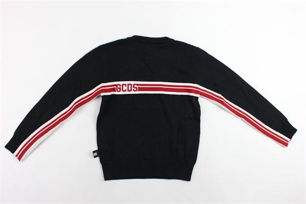 maglione girocollo in lana tinta unita con stampa GCDS | Maglie | 020471NERO