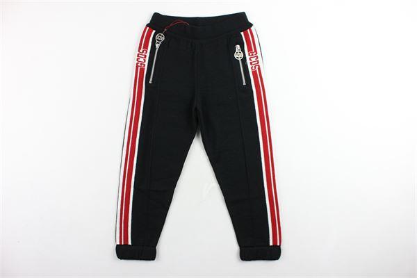 pantalone tuta in lana tinta unita profili colorati GCDS | Pantaloni | 020475NERO