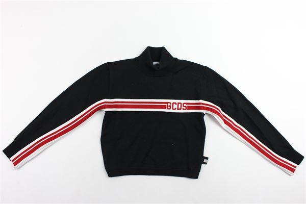 maglione corto manica lunga in lana mezzo collo profili rigati stampa gcds GCDS | Maglie | 020519NERO