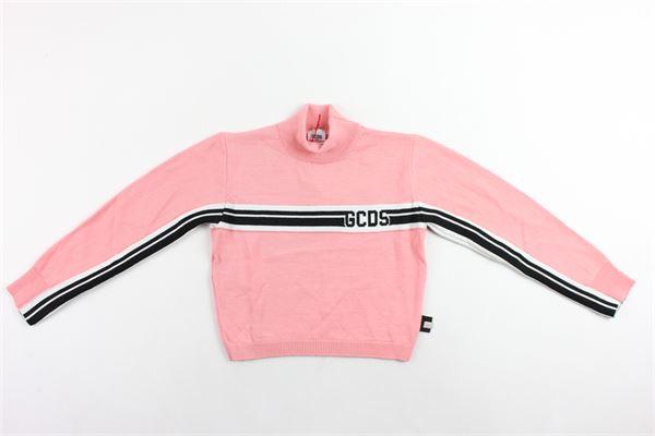 maglione corto manica lunga in lana mezzo collo profili rigati stampa gcds GCDS | Maglie | 020519ROSA
