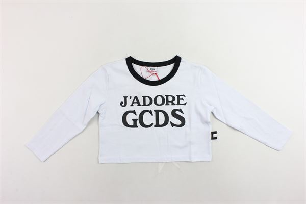 shirt corta manica lunga tinta unita con stampa GCDS | Shirts | 020523BIANCO