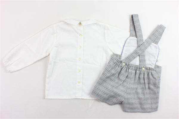 completo camicia tinta unita più saloppettes fantasia a quadri GRANLEI | Completi | 2-1455BIANCO