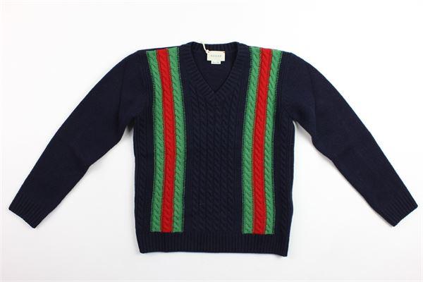 maglione in lana tinta unita profili gucci GUCCI | Maglie | BMJ521337BLU