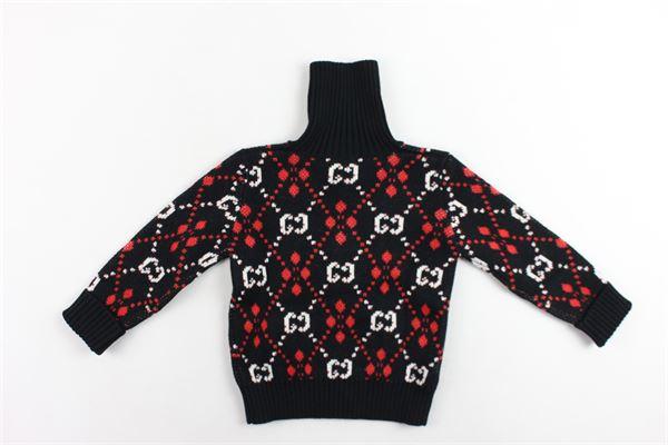 cardigan in lana collo alto stampa fantasia GUCCI | Maglie | BMJ565794NERO