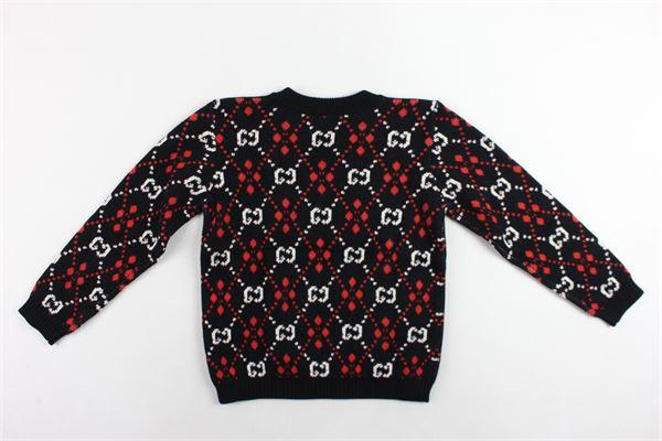 maglione in lana girocollo stampa fantasia GUCCI | Maglie | BMJ570124NERO