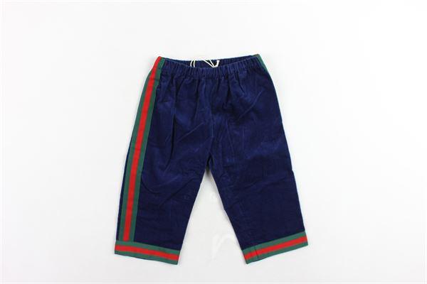 pantalone in velluto elastico in vita profili gucci GUCCI | Pantaloni | GA1542994BLU