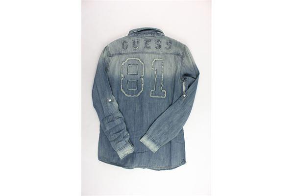 camicia manica lunga in denim stampa dietro GUESS | Camicie | L83H16D36S0-OTUXBLU
