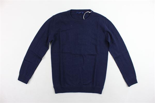 maglione girocollo tinta unita con stampa GUESS | Maglie | L83R07Z23R0-DEKBBLU