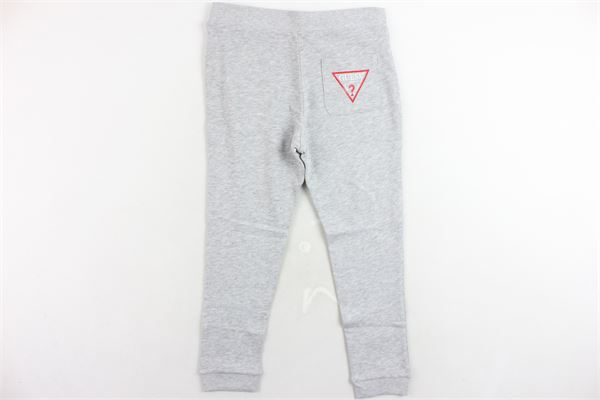pantalone tuta garzato tinta unita con stampa GUESS | Pantaloni | N73Q11K5WK0-M90GRIGIO
