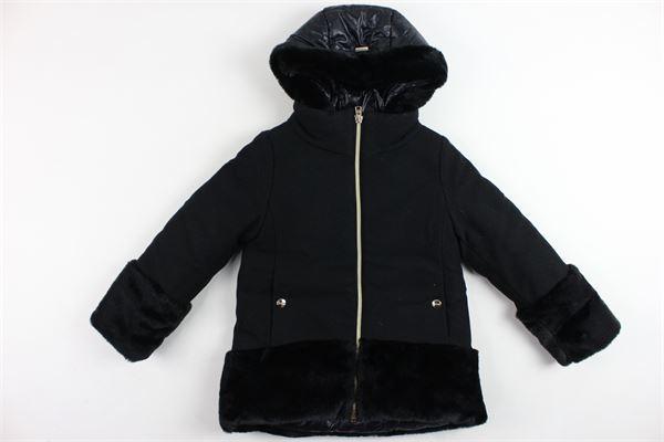 cappotto con zip e cappuccio tinta unita profili in pelliccia sintetica HERNO | Giubbini | 37268-34664NERO