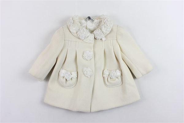 cappotto in lana tinta unita con applicazione I PINCO PALLINO | Giubbini | 181102184040037300045PANNA