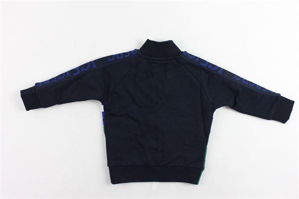 felpa con zip in cotone felpato bicolore con stampa ICEBERG | Felpe | MFICE9317BBLU