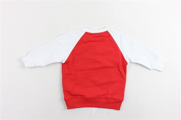 felpa girocollo in cotone felpato maniche in contrasto con stampa bottoni alla spalla ICEBERG | Felpe | MFICE9322BROSSO