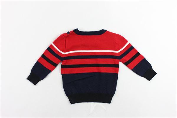 maglione girocollo rigato con stampa in cotone e lana ICEBERG | Maglie | MGICE9301BROSSO