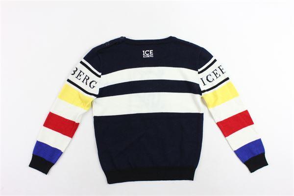 maglione girocollo rigato con stampa in cotone e lana ICEBERG | Maglie | MGICE9312BBLU