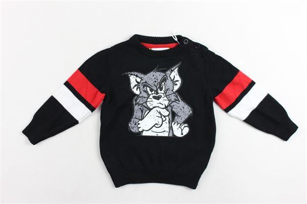maglione girocollo bottoni alla spalla con stampa 100%cotone ICEBERG | Maglie | MGICE9314BNERO