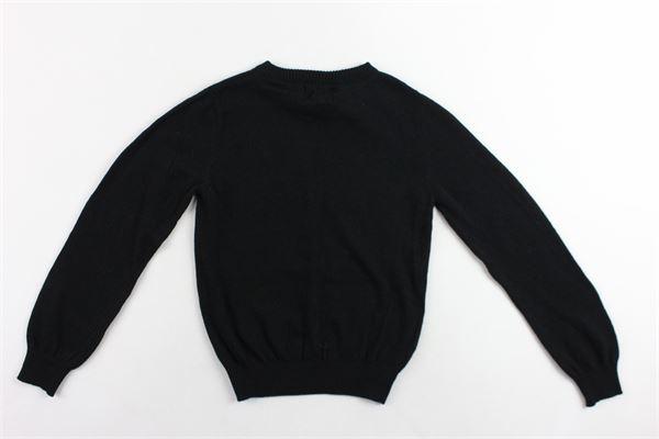 maglione girocollo tinta unita con stampa in lana e cotone ICEBERG | Maglie | MGICEF9304JNERO