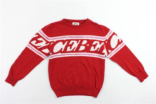 maglione in lana  girocollo con stampa ICEBERG | Maglie | MGICEF9307JROSSO