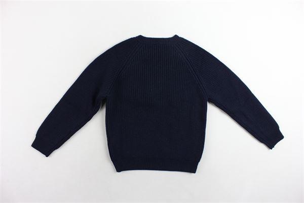 maglione girocollo tinta unita in lana bottoni alla spalla IL GUFO | Maglie | A18MA248EM405BLU
